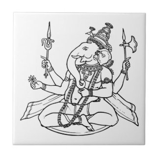 Ganesh, the Hindu God of Luck Small Square Tile