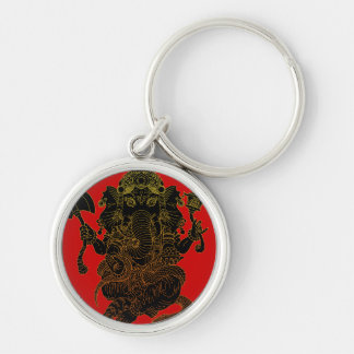 Ganesha4 Silver-Colored Round Key Ring