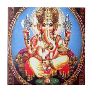 Ganesha (गणेश) Indian Elephant Small Square Tile
