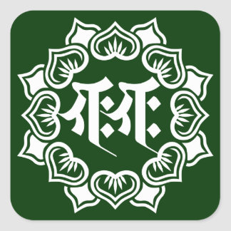 Ganesha bonji (W) Square Sticker
