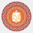 Ganesha Decorative Design Classic Round Sticker