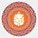 Ganesha Decorative Design Round Stickers