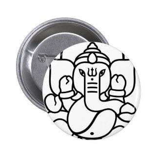 Ganesha Elephant No. 3 (black white) 6 Cm Round Badge