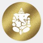 Ganesha Golden Glitter Classic Round Sticker