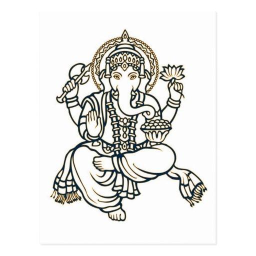 Ganesha Hindu Deity God Postcards