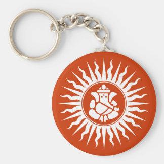 Ganesha Hindu God Sign Basic Round Button Key Ring