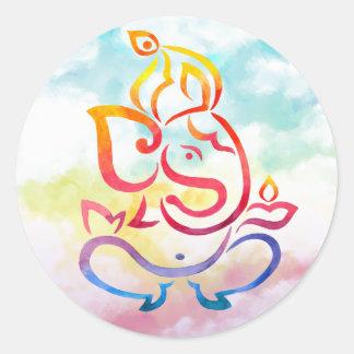 Ganesha illustration on pastel sky background round sticker