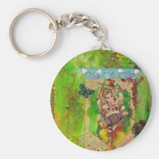 Ganesha Basic Round Button Key Ring