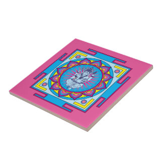 Ganesha Mandala Small Square Tile