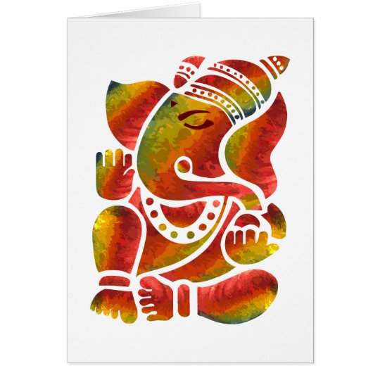 Ganesha Multicolor Painting Card