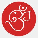 Ganesha Om Style Design Round Sticker