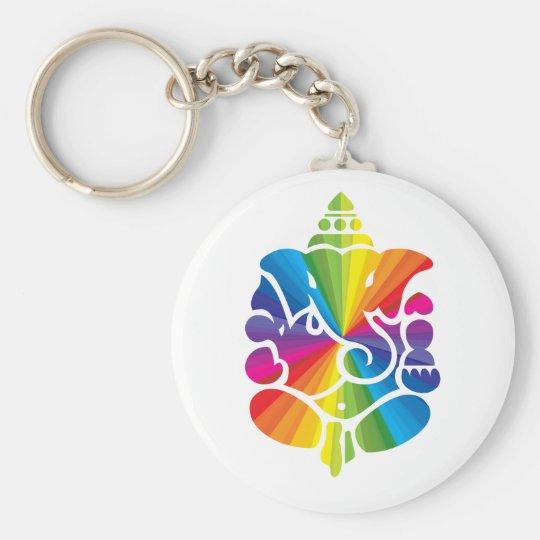 Ganesha Rainbow Design Basic Round Button Key Ring