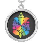 Ganesha Rainbow Sign Round Pendant Necklace
