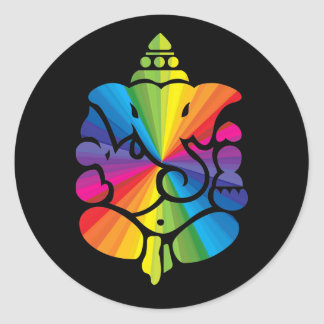 Ganesha Rainbow Sign Round Sticker