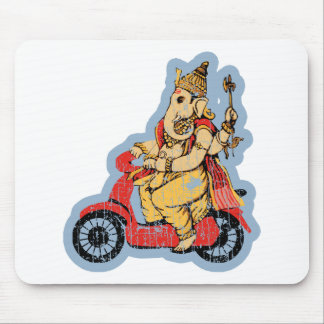 Ganesha Riding a Scooter Mouse Mat