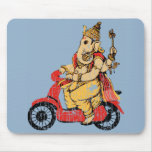 Ganesha Riding a Scooter Mouse Pad
