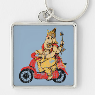 Ganesha Riding a Scooter Silver-Colored Square Key Ring