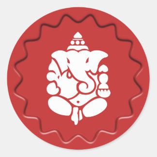Ganesha Sign Red Wax Seal Round Sticker