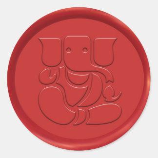 Ganesha Sign Wax Seal Round Sticker