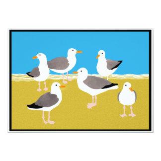 Gang of Seagulls at the Ocean Edge 13 Cm X 18 Cm Invitation Card