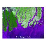 Ganges River Delta Satellite Image - India Postcard
