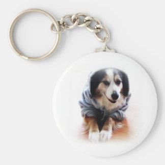 Gangsta Dog Wearing Hoodie Keychains