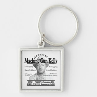 Gangster Machine Gun Kelly Silver-Colored Square Key Ring