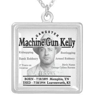 Gangster Machine Gun Kelly Square Pendant Necklace