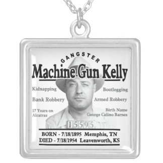 Gangster Machine Gun Kelly Square Pendant Necklace