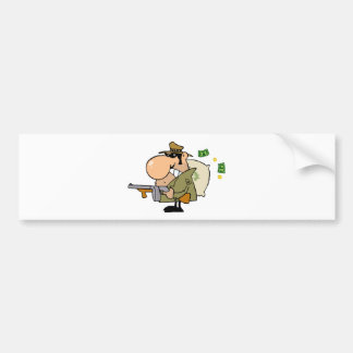 Gangster Man with his Gun and Bag of Money Bumper Sticker