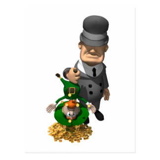 Gangster Shakes Down a Leprechaun Postcard