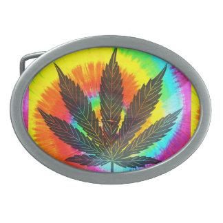 ganja leaf rainbow belt buckle