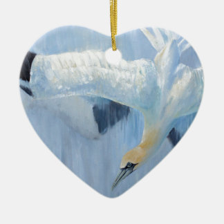 Gannets diving unique gifts for you ceramic heart decoration