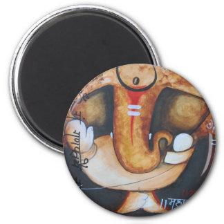 ganpati 6 cm round magnet