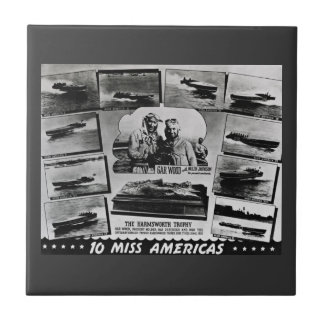 Gar Wood 10 Miss Americas Vintage Race Boats Small Square Tile