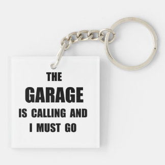 Garage Calling Double-Sided Square Acrylic Key Ring