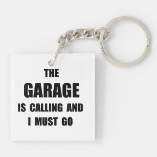 Garage Calling Double-Sided Square Acrylic Key Ring