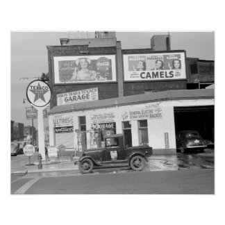 Garage & Filling Station, 1940. Vintage Photo Poster
