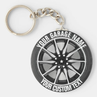 Garage Or Car Repair Owner Car Wheel On Steel Basic Round Button Key Ring