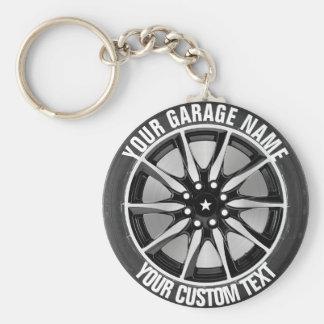 Garage Or Car Repair Owner Car Wheel On Steel Basic Round Button Key Ring