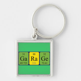 Garage periodic table keyring Silver-Colored square key ring