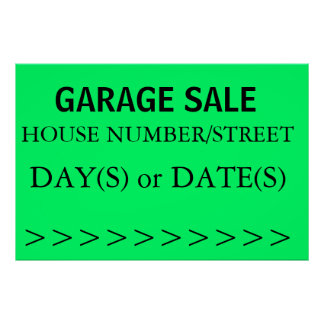GARAGE SALE SIGN - right arrow Posters