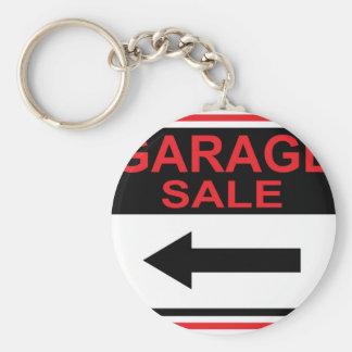 Garage Sale sign this way arrow Vector Basic Round Button Key Ring