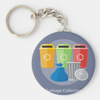 Garbage Collection Basic Round Button Key Ring