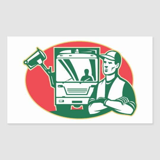Garbage Collector and Side Loader Rubbish Truck Rectangular Sticker