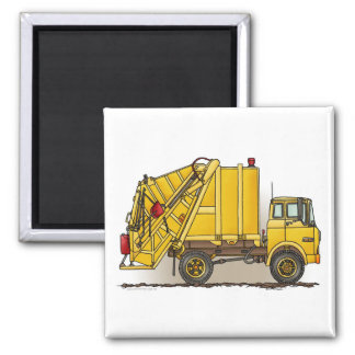Garbage Truck 2 Construction Square Magnet