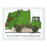 Garbage Truck Green Kids Party Invitation 11 Cm X 14 Cm Invitation Card