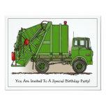 Garbage Truck Green Kids Party Invitation 11 Cm X 14 Cm Invitation Card
