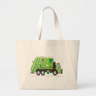 Garbage Truck Green Large Tote Bag