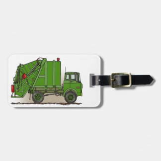 Garbage Truck Green Luggage Tag